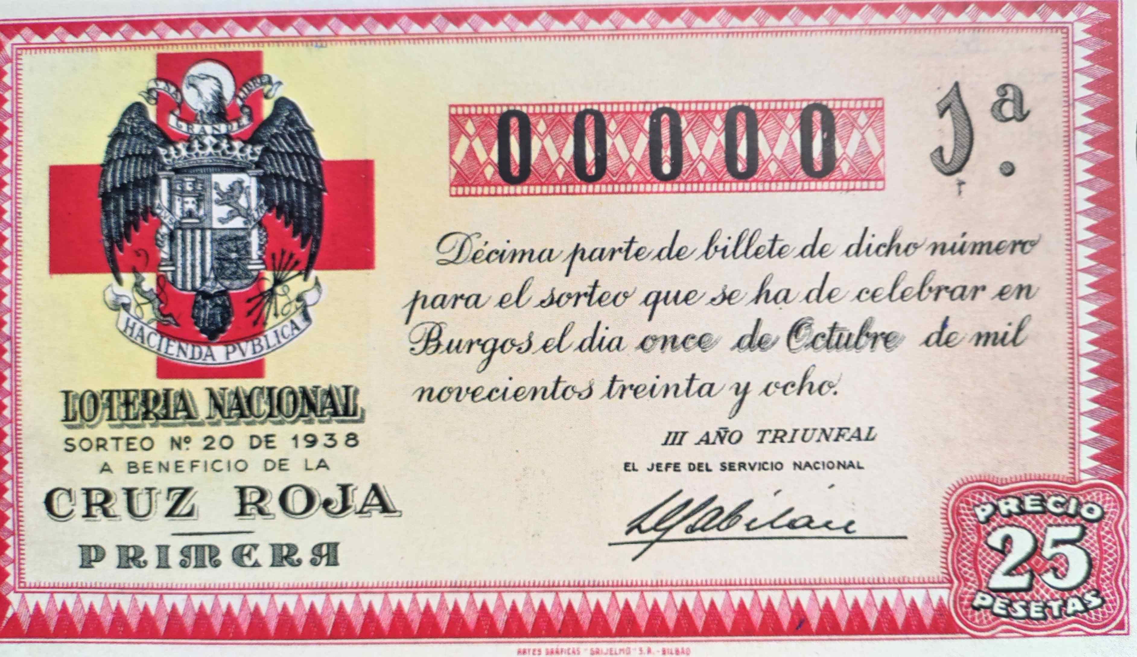 Sorteo de la Cruz Roja Sorteo 20 Año 1938