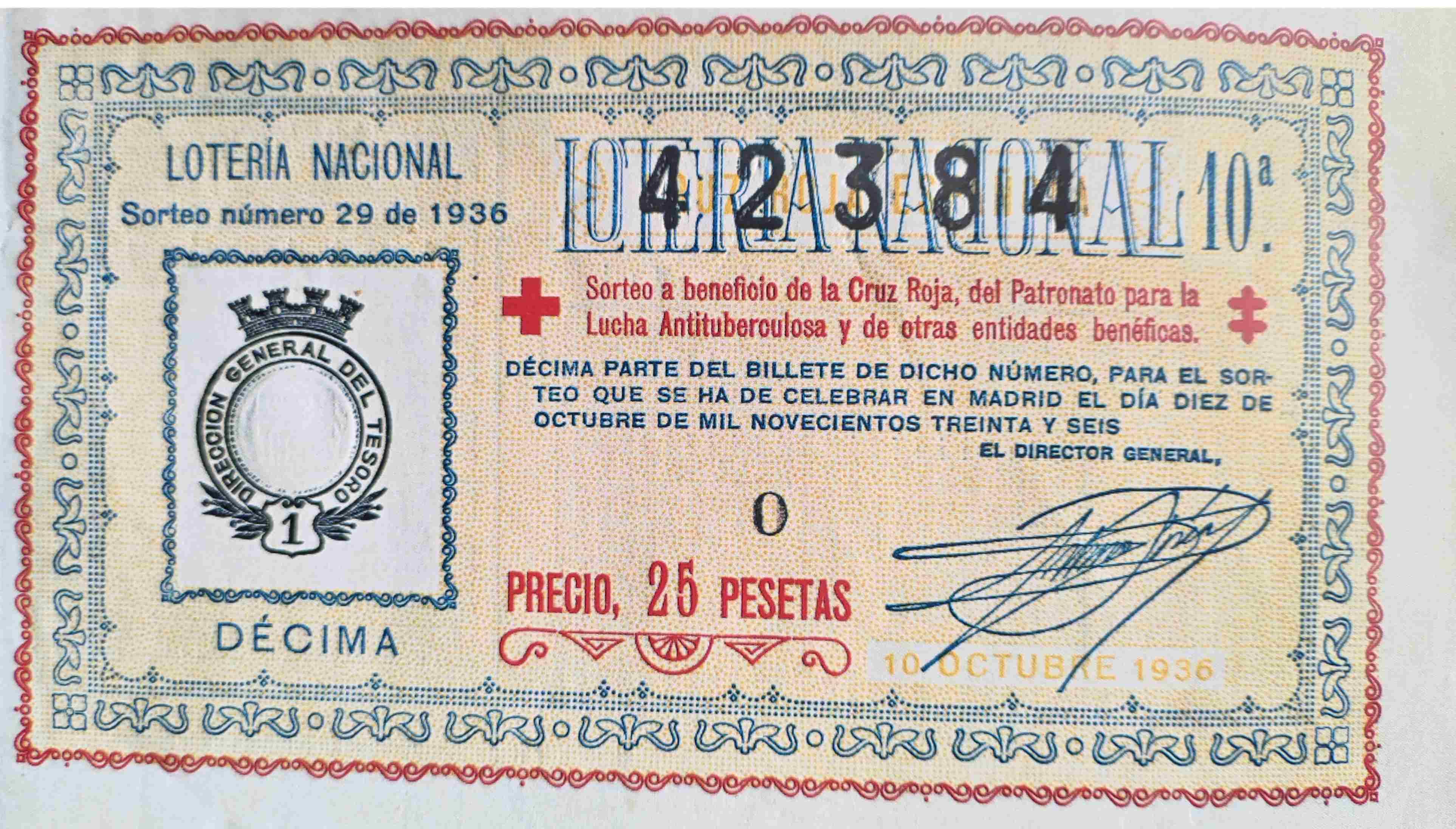 Déciomo de la Cruz Roja sorteo 29 Año 1936